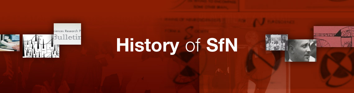 "Red background with ""History of SfN"" with various images from the issue"