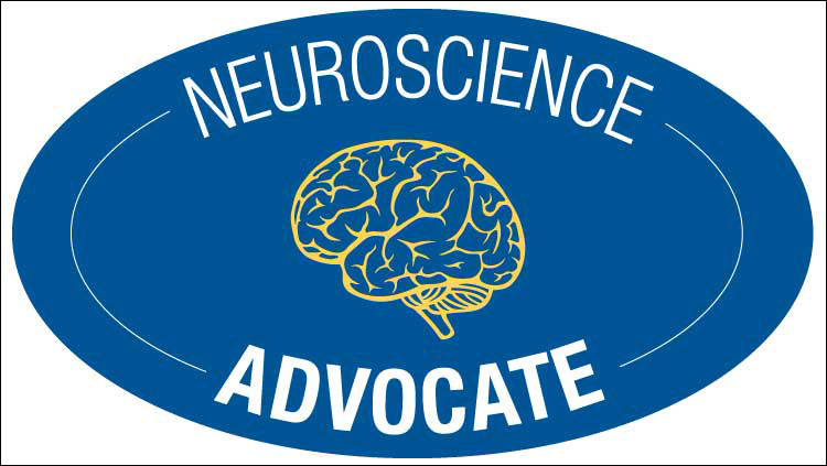 NeuroAdvocate Challenge logo, blue oval with yellow outline of a brain