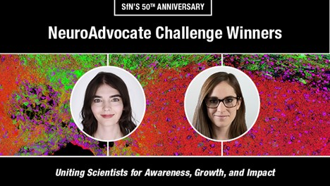 """Images of the two NeuroAdvocate Challenge Winners """"SfN's 50th Anniversary NeuroAdvocate Challenge Winners , Uniting Scientists for Awareness, Growth and Impact"""""""
