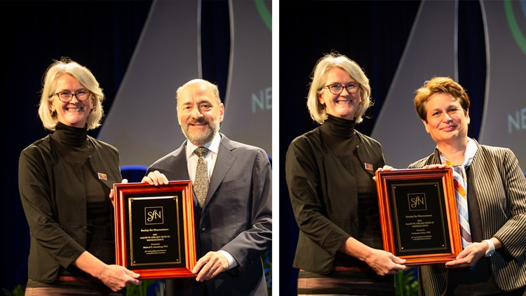 Michael E. Greenberg, PhD (left), of Harvard Medical School, and Catherine Dulac, PhD (right), of Harvard University are honored with the Ralph W. Gerard Prize in Neuroscience.