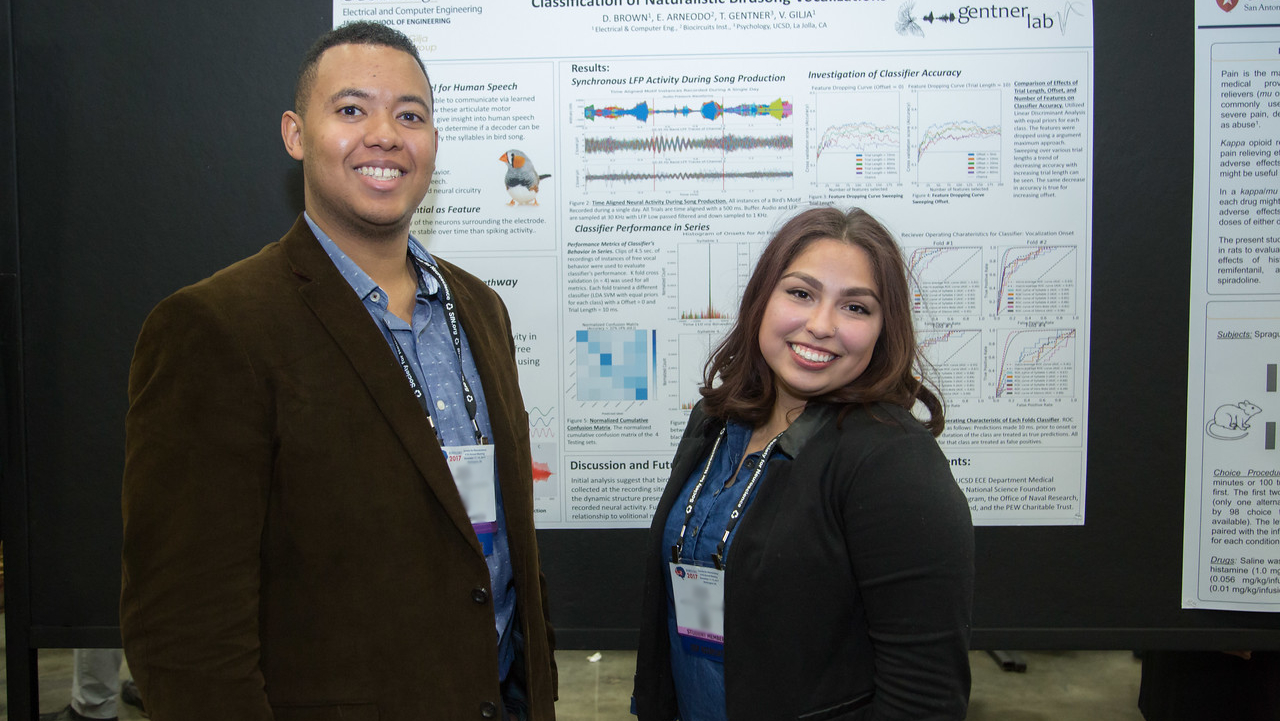 Two NSP scholars presenting their posters