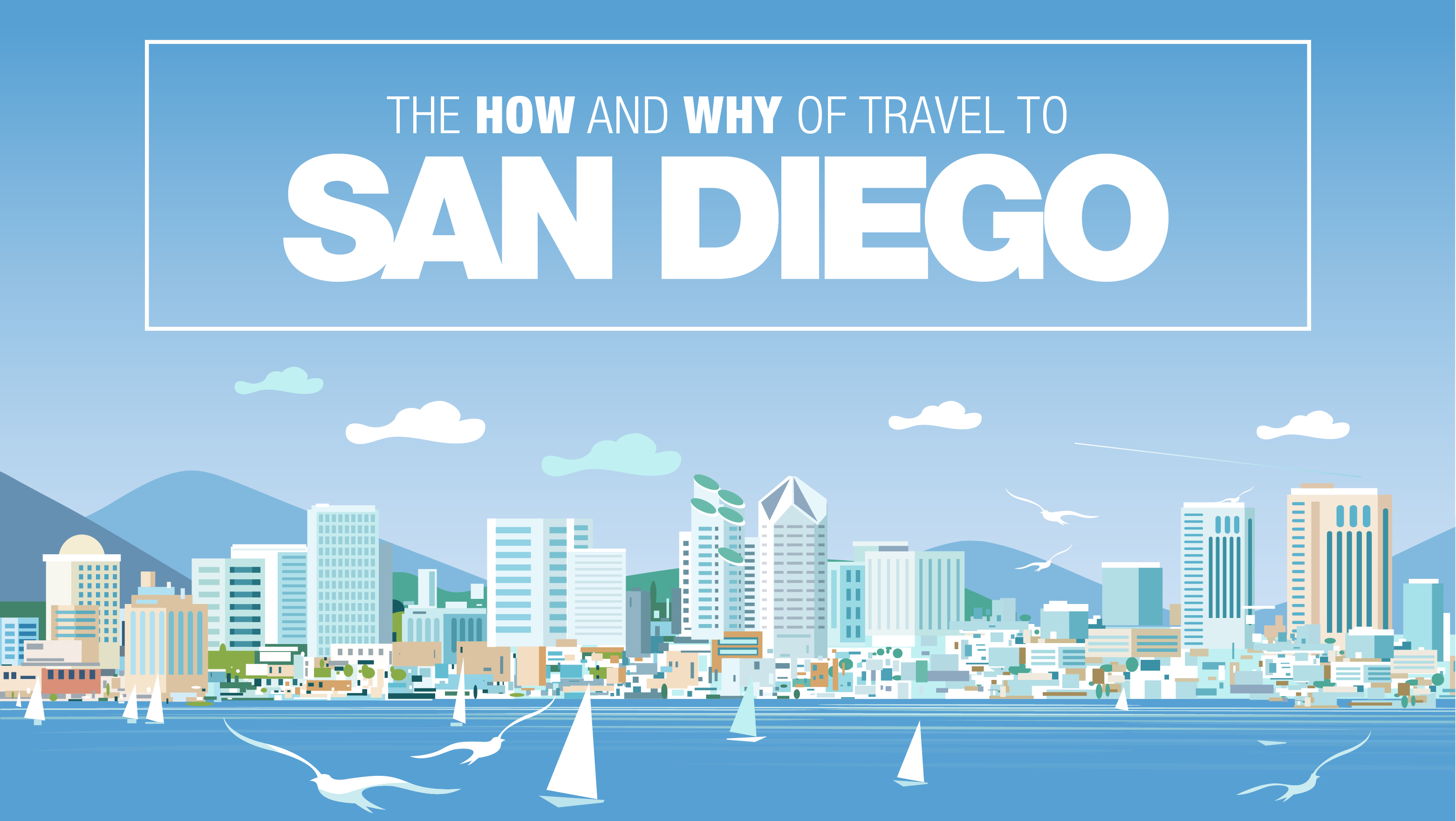 """""""The How and Why of Travel to San Diego"""" with San Diego skyline graphic"""