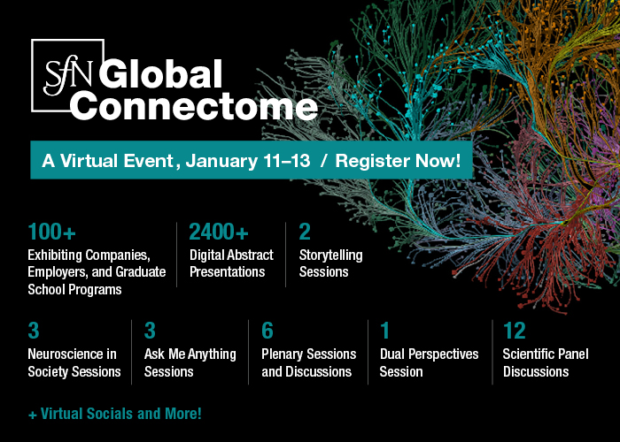 """SfN Global Connectome: A Virtual Event logo over decorative scientific image. """"January 11-13 / Register Now! 100+ exhibiting companies, employers, and graduate school programs; 2400+ digital abstract presentations; 2 storytelling sessions; 3 neuroscience in society sessions; 3 ask me anything sessions; 6 plenary sessions and discussions; 1 dual perspectives session; 12 scientific panel discussions; + virtual socials and more!"""""""