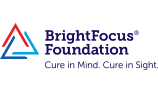 """BrightFocus Foundation logo """"cure in mind. cure in sight."""""""