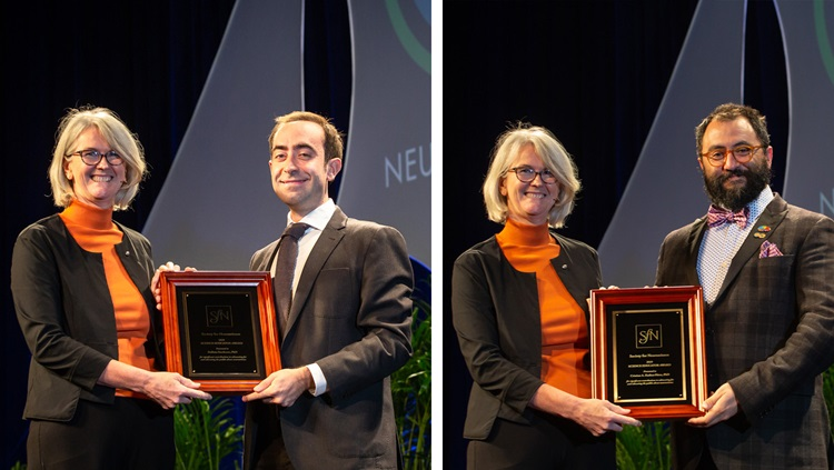 Stefano Sandrone, PhD (left), of Imperial College London, and Cristian A.  Zaelzer-Pérez, PhD (right), of McGill University Health Centre, receive the Science Educator Award.