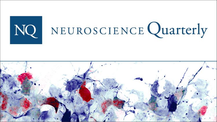 Neuroscience Quarterly logo with generic science imagery